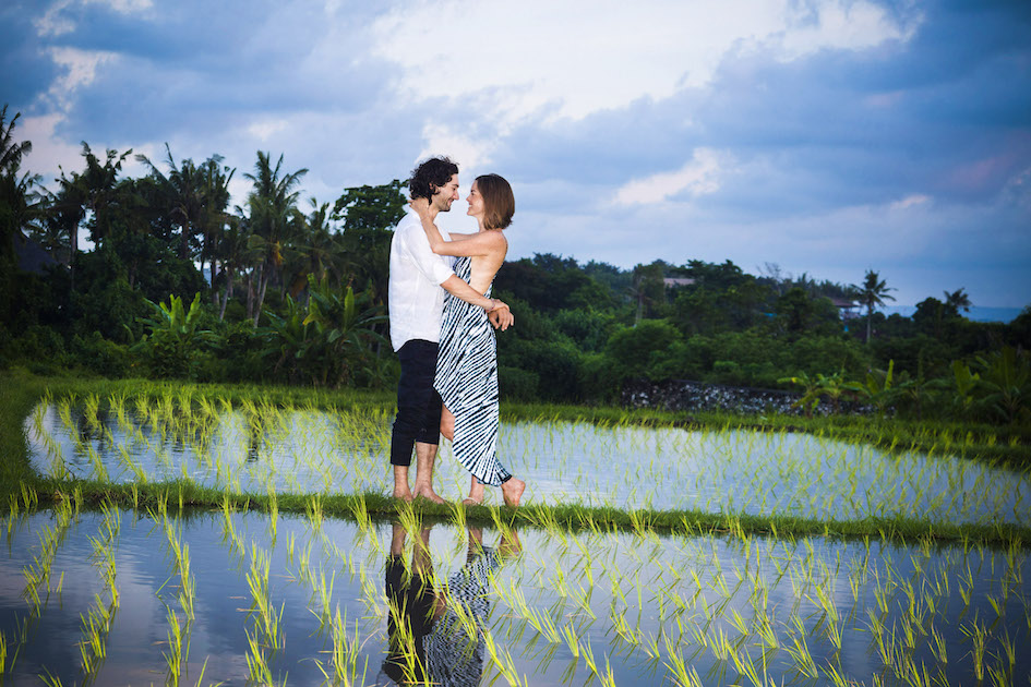 A romantic moment in the dusky rice field, Pererenan, Bali. Check out more photos from Alex & Najib.