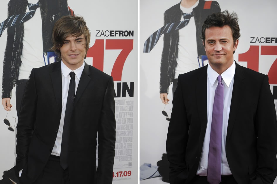 Zac Efron & Matthew Perry, 17-Again premier, Chinese Theater, Hollywood