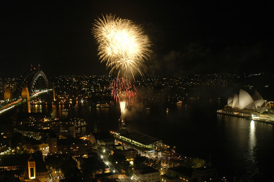 Fireworks over Sydney Harbor
