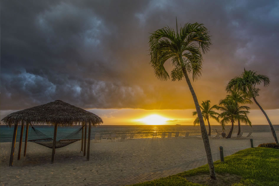 Stormy sunset at Silver Sands, Grand Cayman