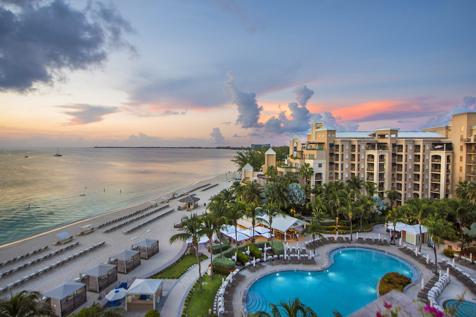 Sunset over the Ritz Carlton seen from the Presidential Suite, Grand Cayman