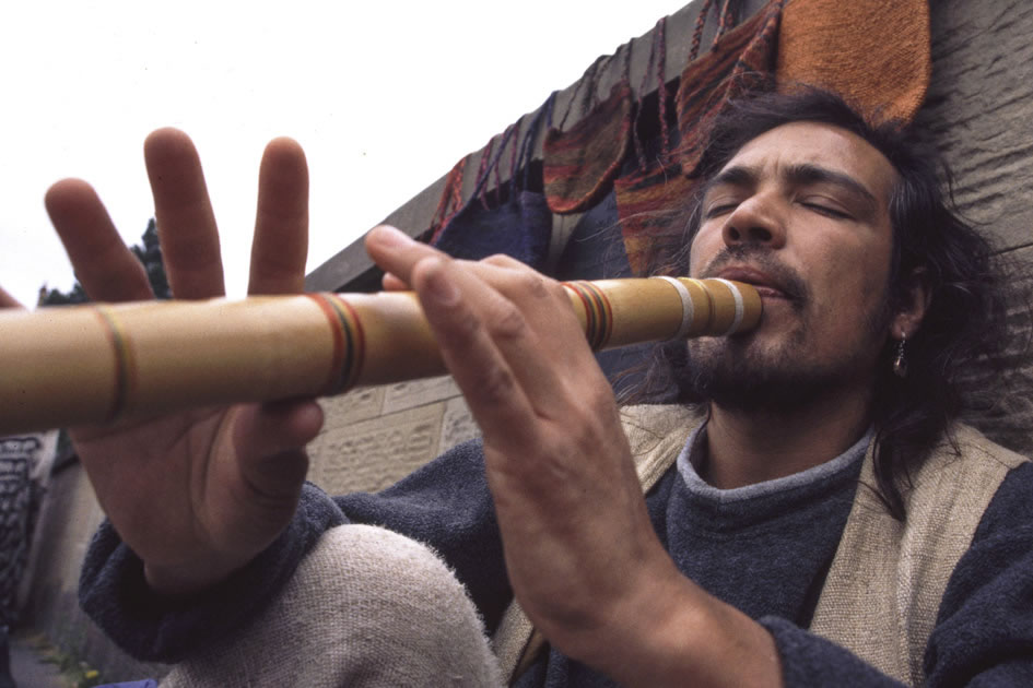 South American flute player at the Edinburgh Arts Festival