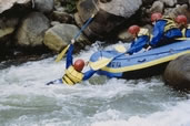 Rafters trying to pull in one of their own down the Numbers Rapids