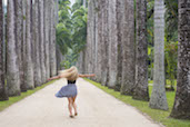 The joy of being amongst the trees, Avenue of the Royal Palms, Rio de Janerio Botanical Gardens.