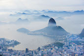 The misty morning view seen from Christ the Redeemer, Rio de Janerio.