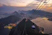 The dusky view of Rio de Janerio from the top of Sugarloaf Mountain.