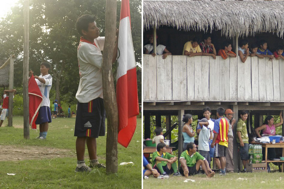 Football game during dry season, Amazon Basin