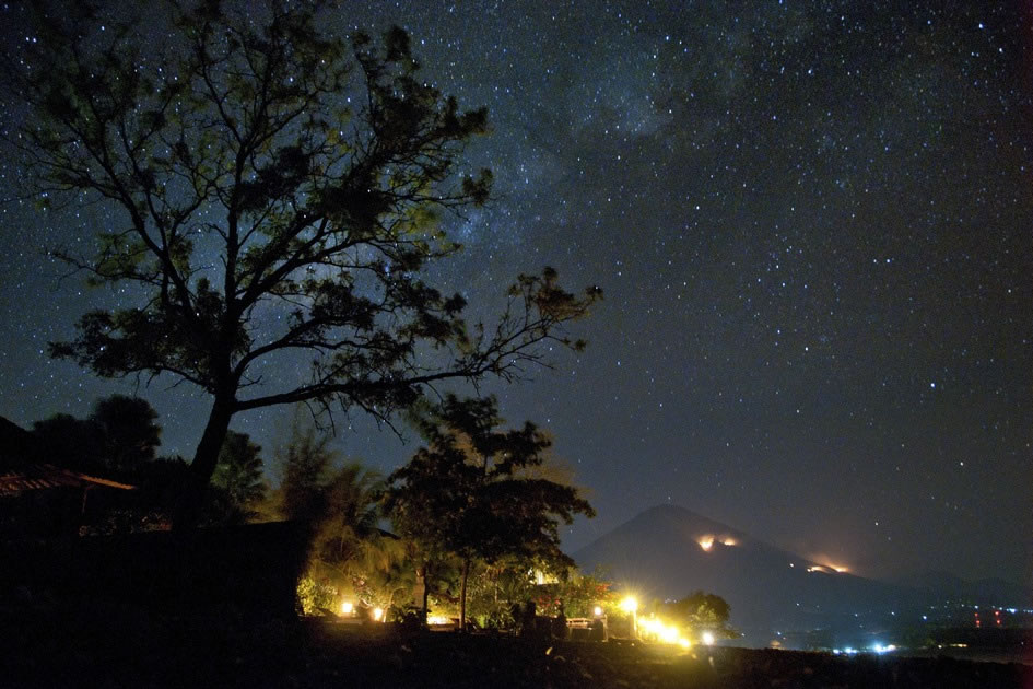 The Milky Way over the Volcano in Amed, Bali