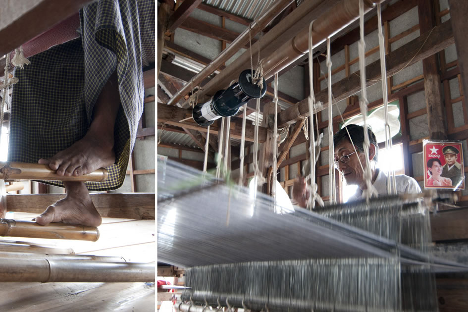 How fabric is woven, Inle Lake