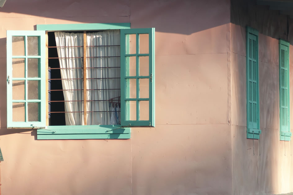 Window on a pink building, Sagada