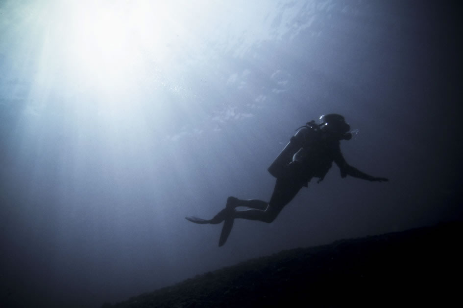 Silhouette of a diver, Japanese Wreck, Amed, Indonesia